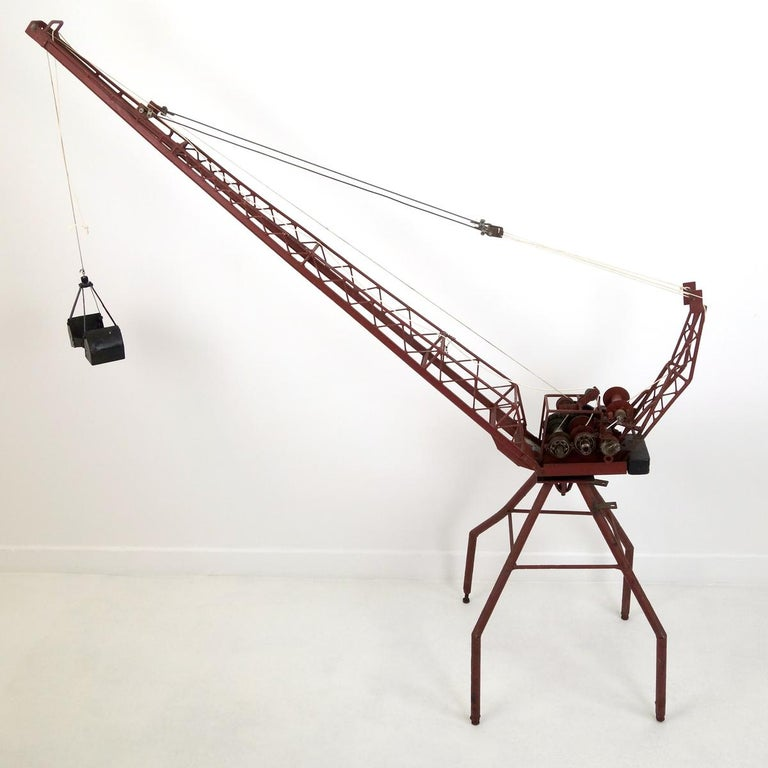 20th Century Enormous Pre-War Toy Steel Hoisting Crane For Sale