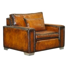 Enormous Restored Hand Dyed Brown Alligator Crocodile Leather Armchair Love Seat