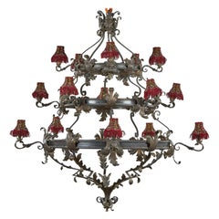 Enormous Spanish Wrought Iron Chandelier, circa 1920