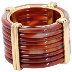 Enormous Valentin Magro Gold and Hardstone Cuff