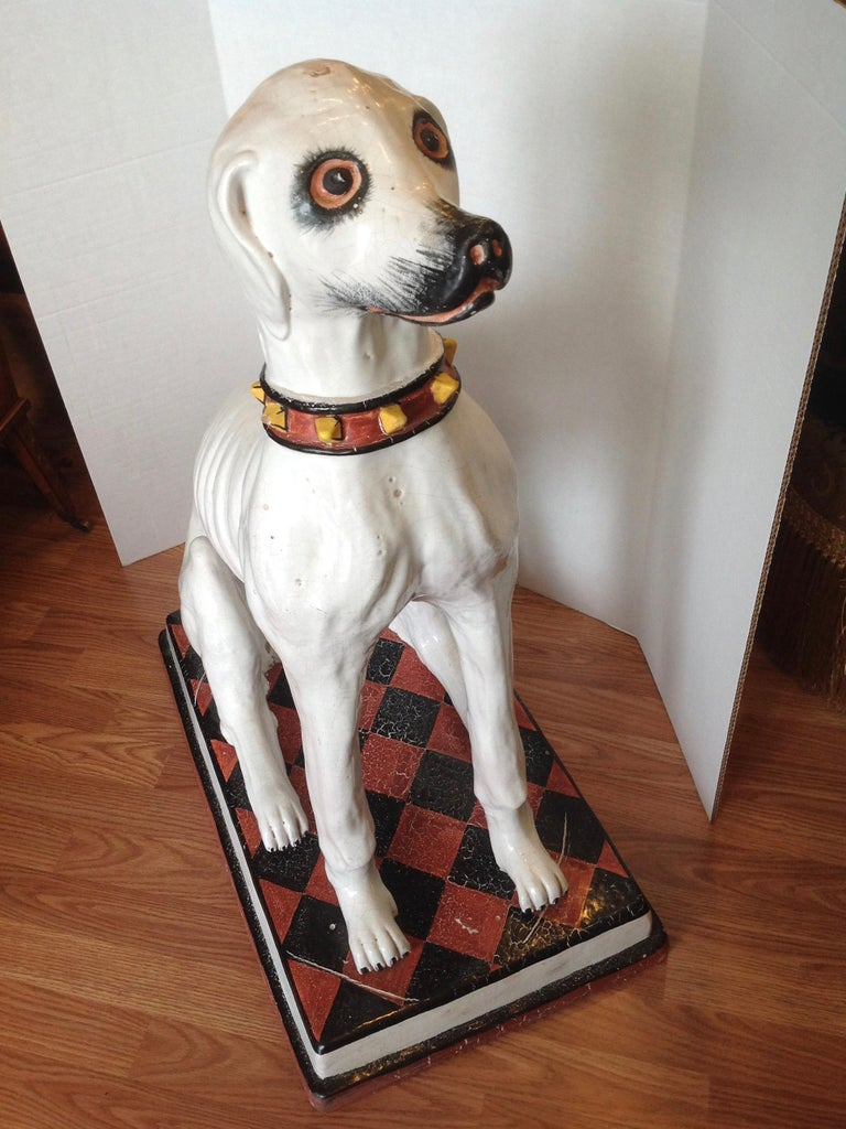 Glazed Enormous Whimsical Midcentury Statue of a Dog For Sale