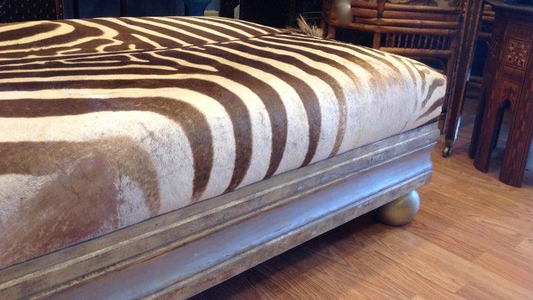 Enormous Zebra Hide Ottoman For Sale 5