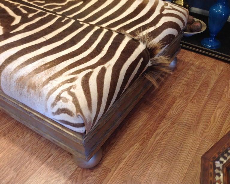 Enormous Zebra Hide Ottoman For Sale 6