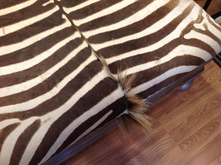 Enormous Zebra Hide Ottoman For Sale 7