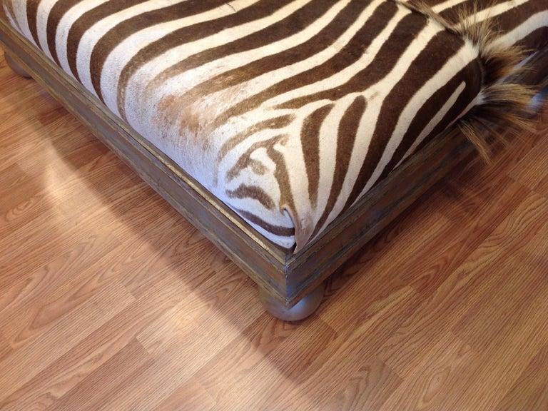 Enormous Zebra Hide Ottoman For Sale 8