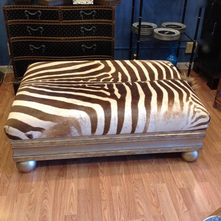 African Enormous Zebra Hide Ottoman For Sale
