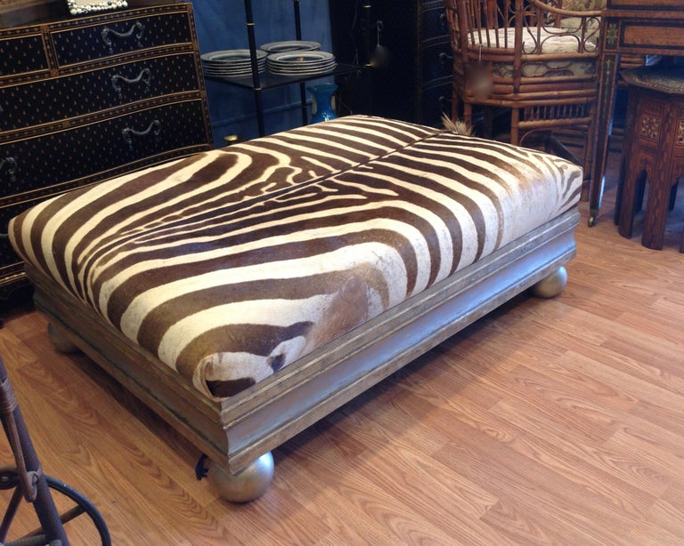 Enormous Zebra Hide Ottoman In Good Condition For Sale In West Palm Beach, FL