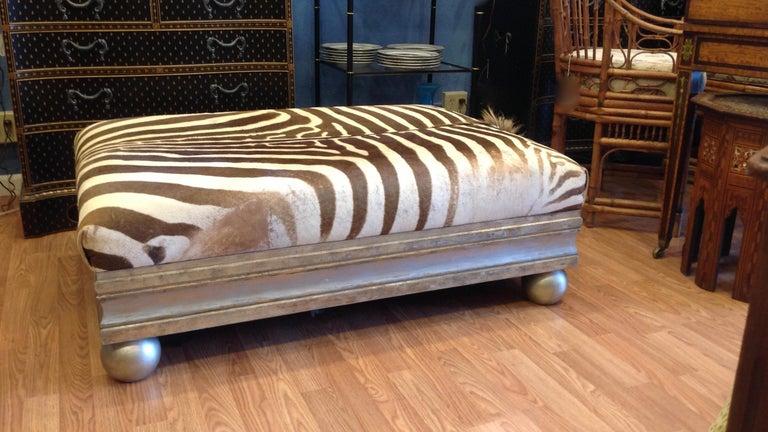20th Century Enormous Zebra Hide Ottoman For Sale