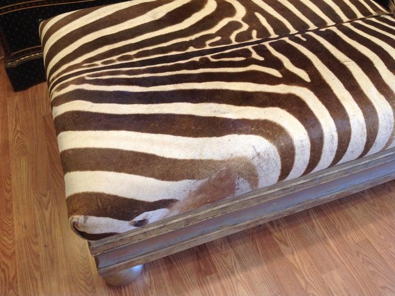 Enormous Zebra Hide Ottoman For Sale 1