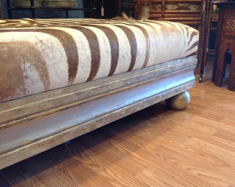 Enormous Zebra Hide Ottoman For Sale 2