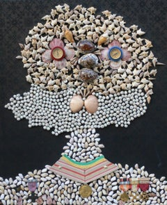 Horatius Nelson, Duke of Brontë. Collage sea shells, medals, brocade, compasses.
