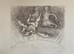 Italian Surrealist Aquatint Etching Enrico Baj Pop Art Nude Mod Cherubs Angels