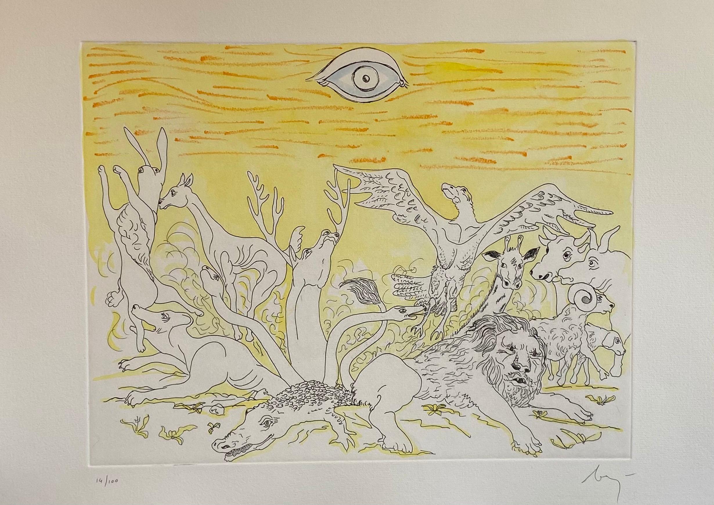Italian Surrealist Aquatint Etching Enrico Baj Pop Art with Watercolor Painting