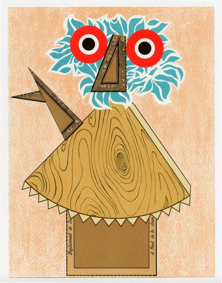 Enrico Baj Figurative Print - XXe Siecle (Red Eyes)