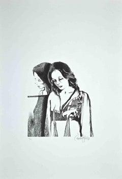 The Woman - Original Lithograph by Enrico Borghi - 1973