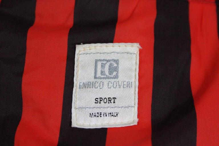 Enrico Coveri Black Red Sport Down Bomber Jacket 1980s For Sale 6