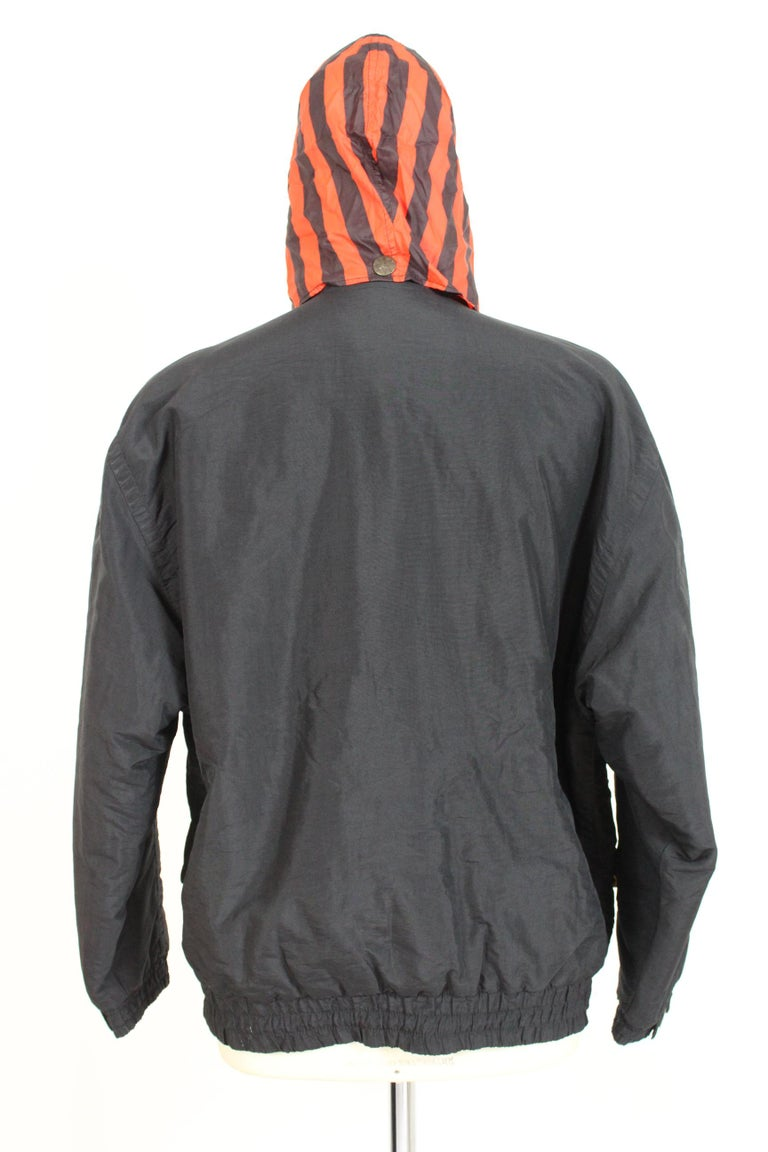 Enrico Coveri Black Red Sport Down Bomber Jacket 1980s In Excellent Condition For Sale In Brindisi, Bt