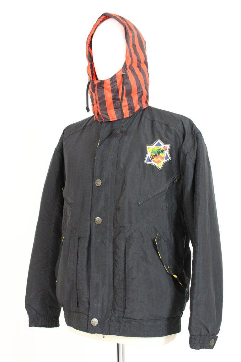 Men's Enrico Coveri Black Red Sport Down Bomber Jacket 1980s For Sale