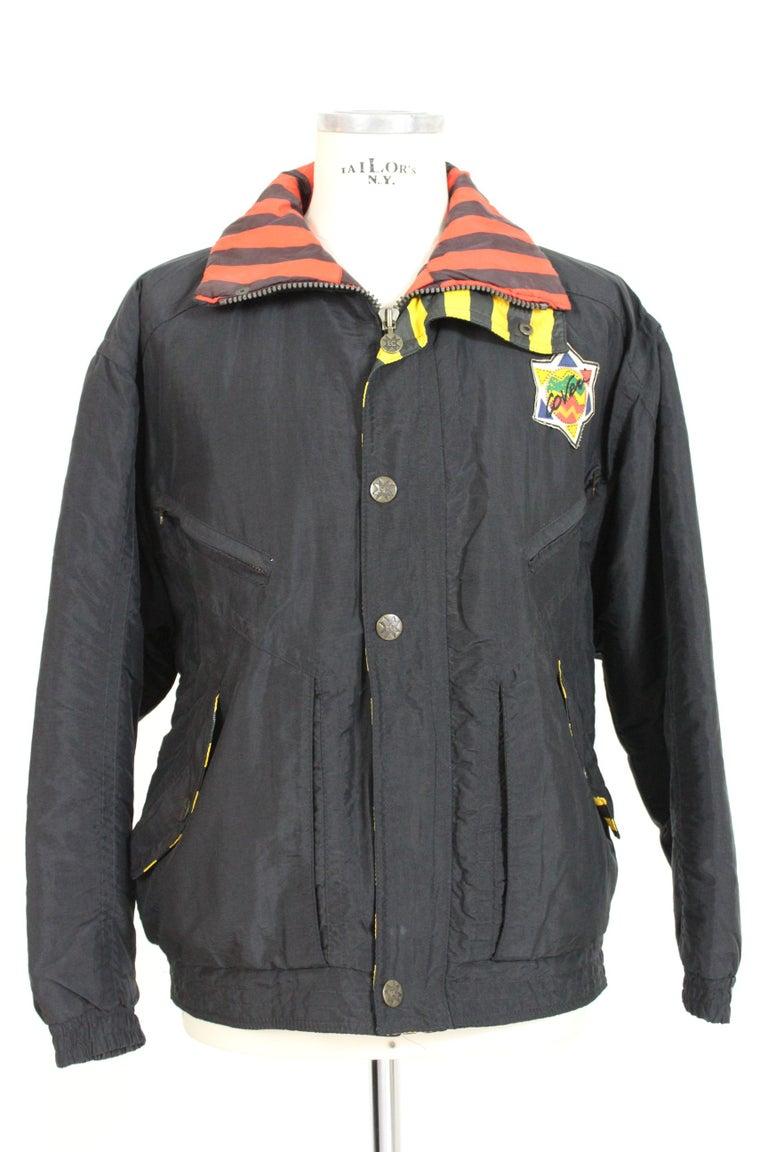 Enrico Coveri Black Red Sport Down Bomber Jacket 1980s For Sale 1