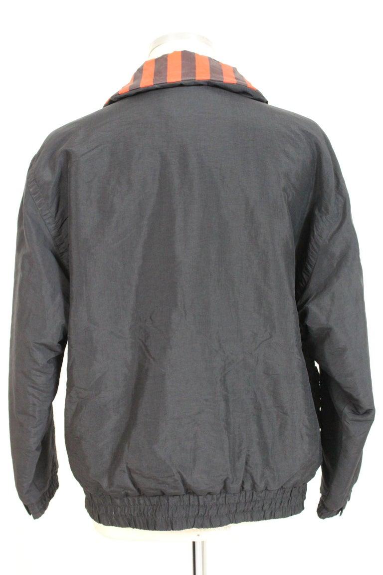 Enrico Coveri Black Red Sport Down Bomber Jacket 1980s For Sale 2