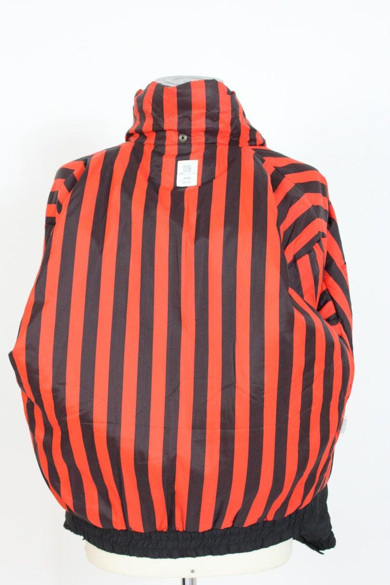 Enrico Coveri Black Red Sport Down Bomber Jacket 1980s For Sale 4