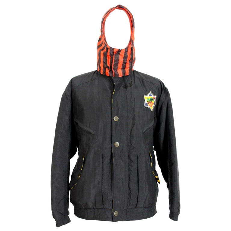 Enrico Coveri Black Red Sport Down Bomber Jacket 1980s For Sale