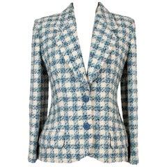 Enrico Coveri Blue White Wool Boucle Classic Jacket