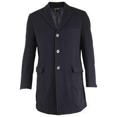Enrico Coveri Men's Vintage 1990s Black Wool & Cashmere Hand Finished Overcoat