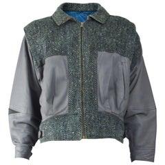 Enrico Coveri Vintage Mens Wool Tweed & Leather Jacket