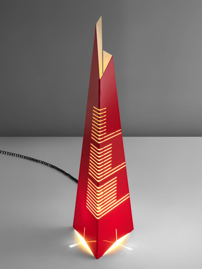 Mid-Century Modern Enrico Tronconi Red 'Il Personaggi' Floor Lamp For Sale