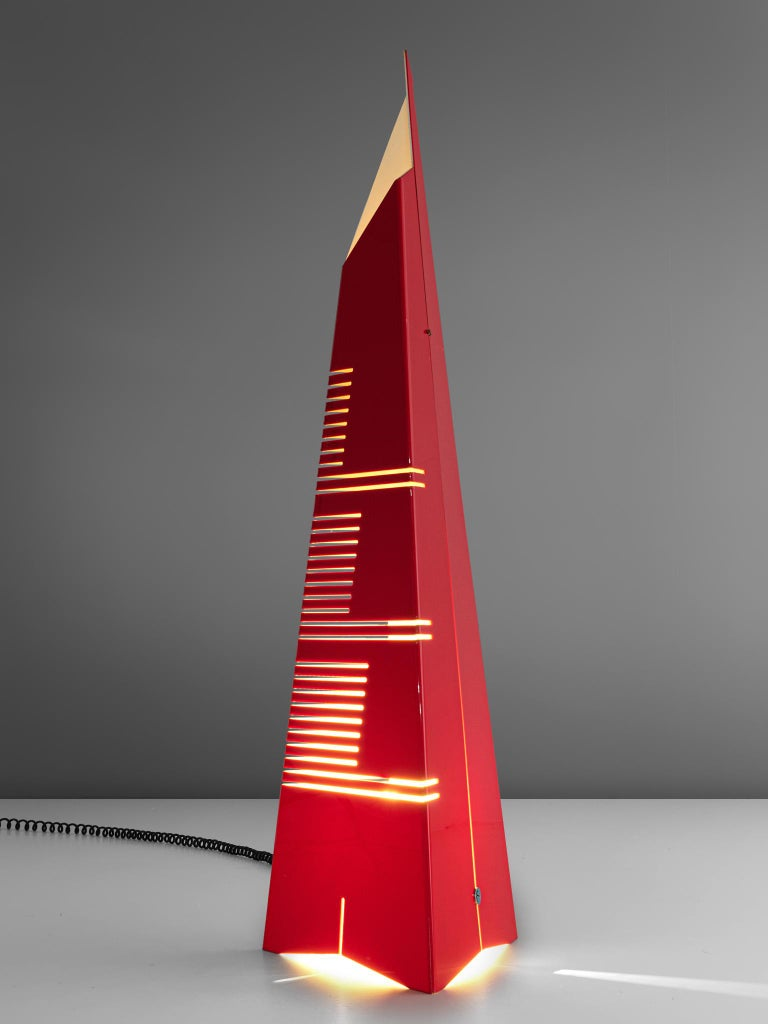 Italian Enrico Tronconi Red 'Il Personaggi' Floor Lamp For Sale