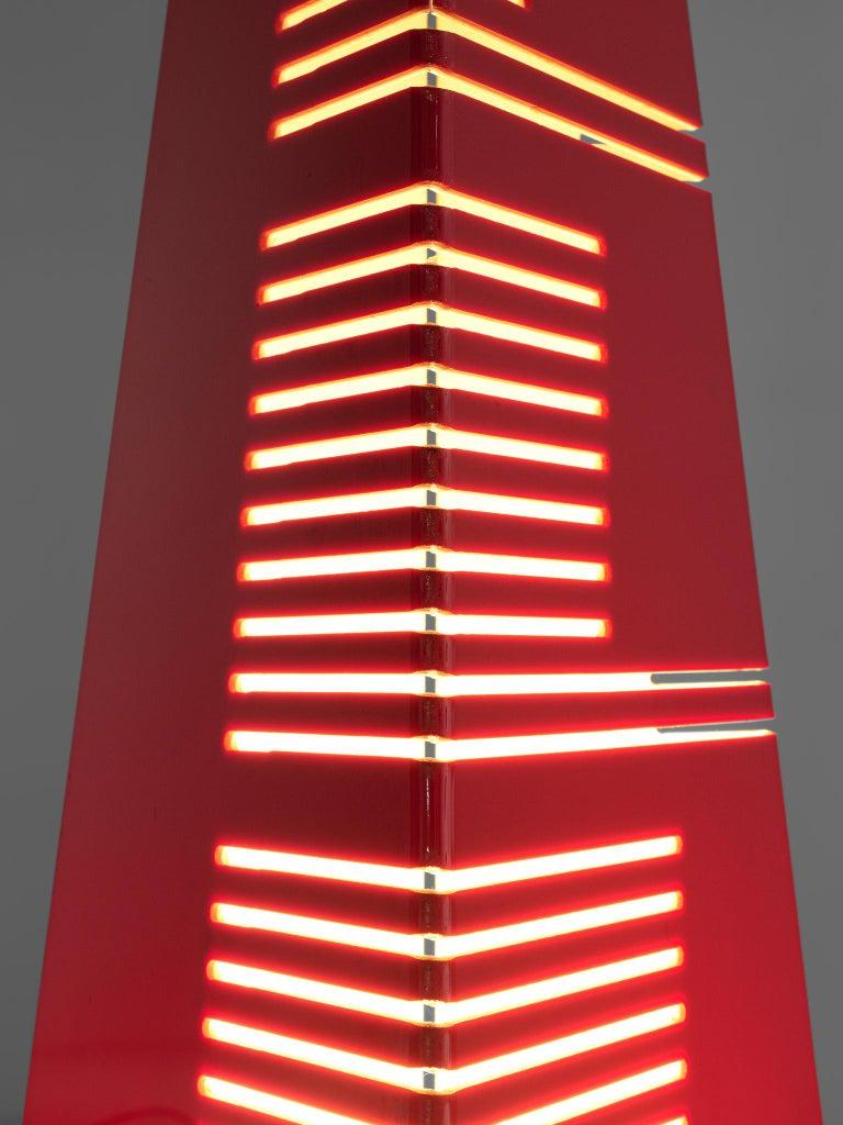 Acrylic Enrico Tronconi Red 'Il Personaggi' Floor Lamp For Sale