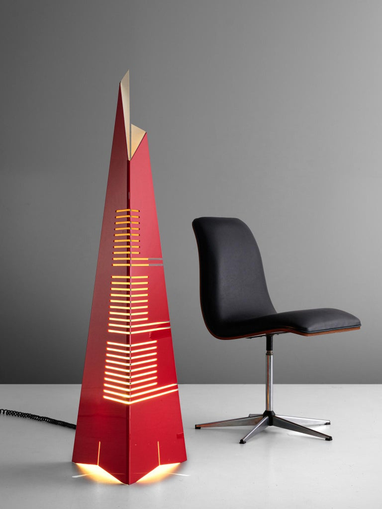 Enrico Tronconi Red 'Il Personaggi' Floor Lamp For Sale 2