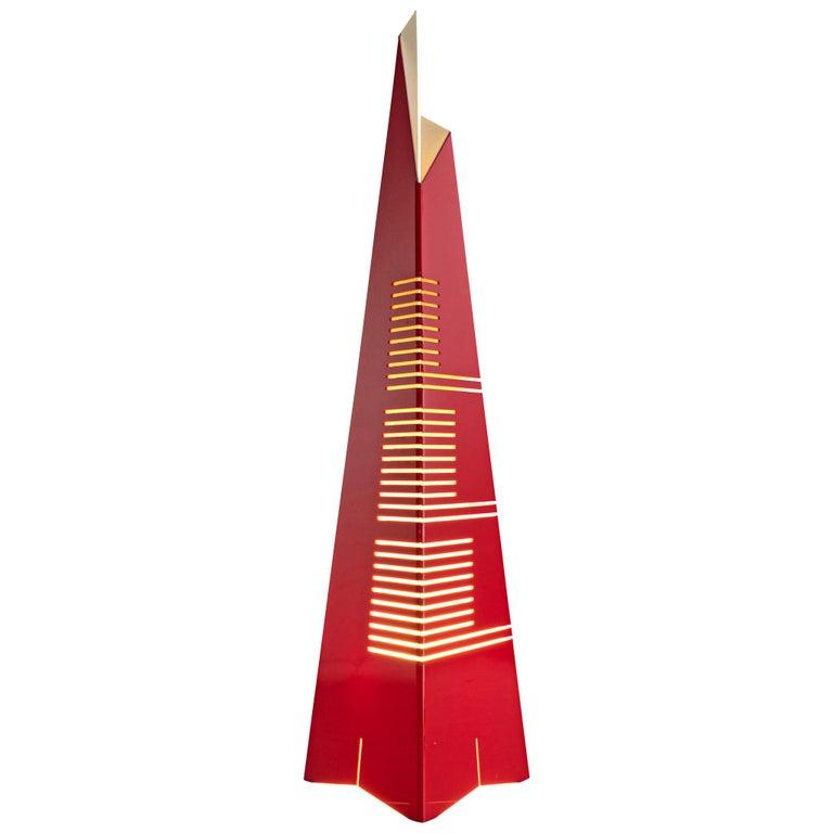 Enrico Tronconi Red 'Il Personaggi' Floor Lamp For Sale