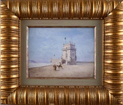 """""""Belem´s Tower, Lisbon"""", 19th Century Oil on Wood Panel by Enrique Atalaya"""