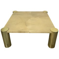Enrique Garcel Goatskin and Brass Coffee or Cocktail Table