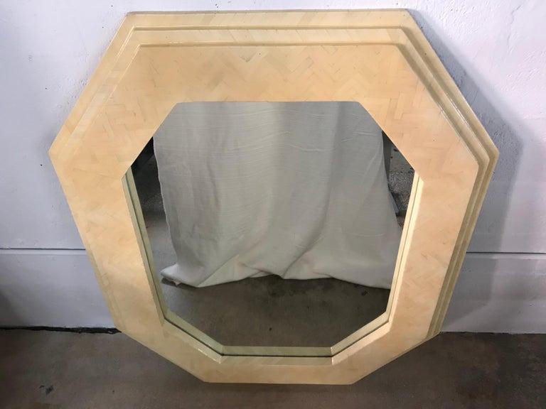 Tessellated camel bone octagonal mirror by Enrique Garcel.