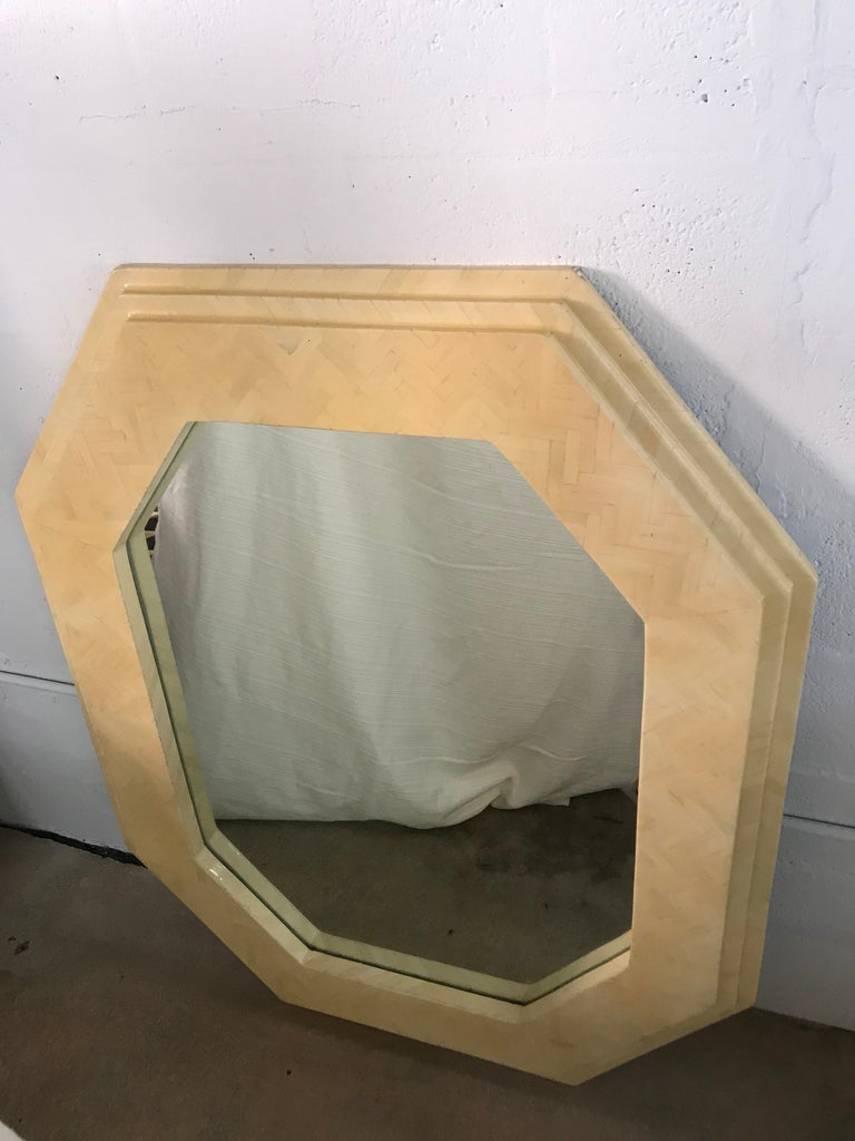 Mid-Century Modern Enrique Garcel Herringbone Tessellated camel Bone Octagonal Mirror For Sale