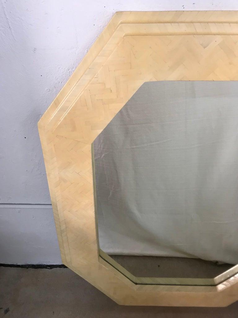Enrique Garcel Herringbone Tessellated camel Bone Octagonal Mirror In Good Condition For Sale In Miami, FL