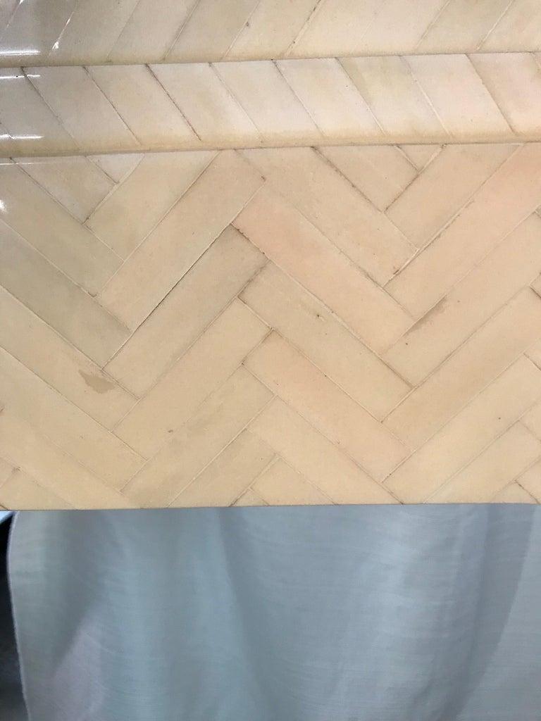 20th Century Enrique Garcel Herringbone Tessellated camel Bone Octagonal Mirror For Sale
