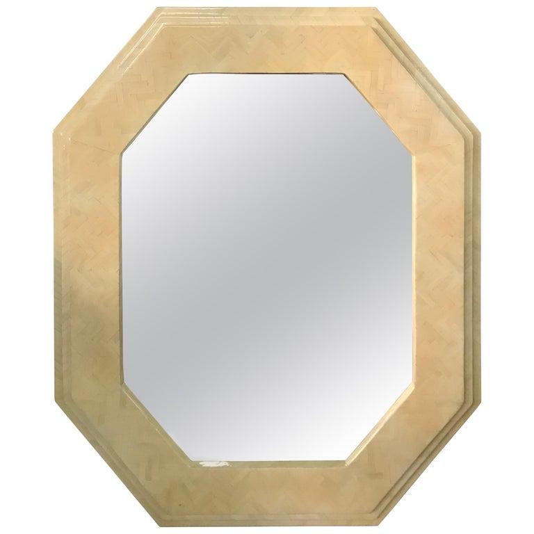 Enrique Garcel Herringbone Tessellated camel Bone Octagonal Mirror For Sale