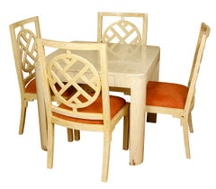 Enrique Garcel Lacquered Bone Games Table with Four Chairs