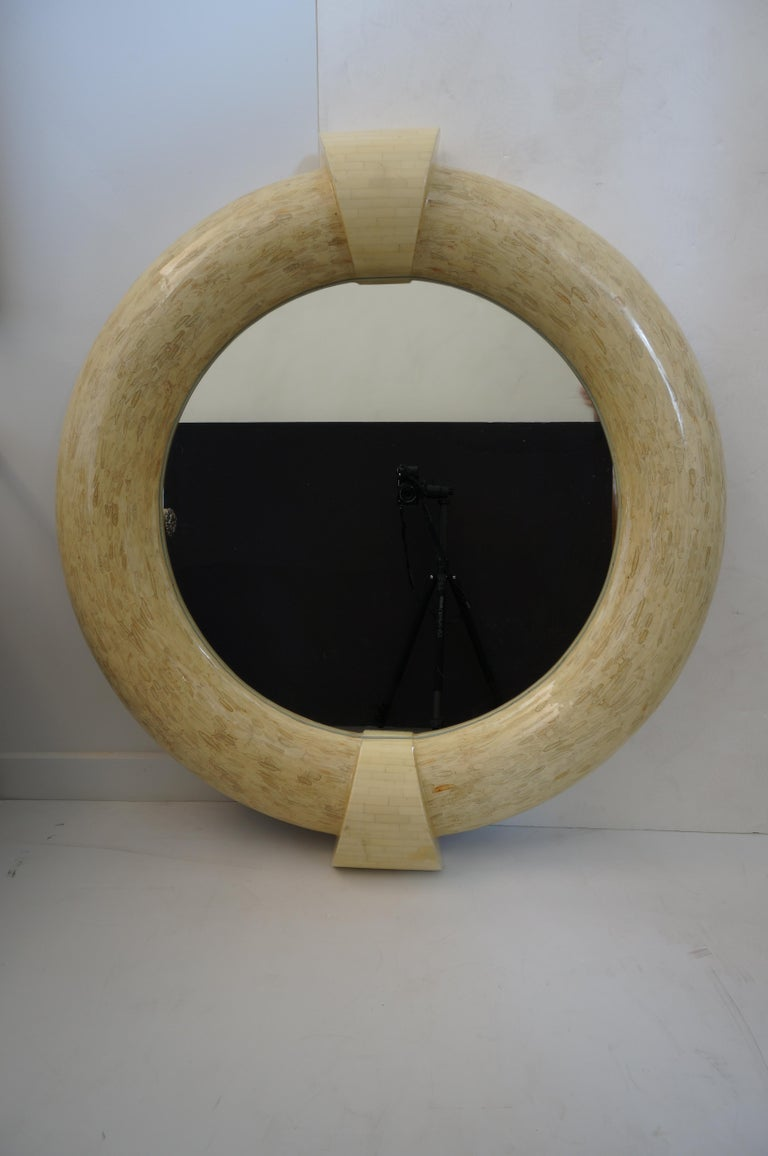 Vintage Enrique Garcelstyle wall mirror tessellated bone from a Palm Beach estate  Diameter of the inserted mirror is 27 3/4