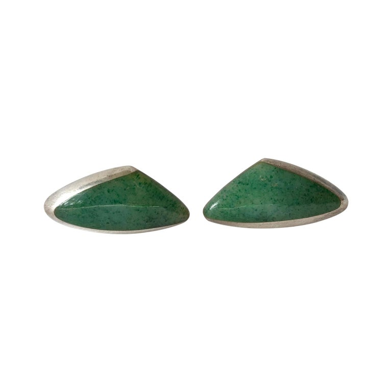 Enrique Ledesma Chrysoprase Agate Sterling Silver Mexican Modernist Cufflinks For Sale