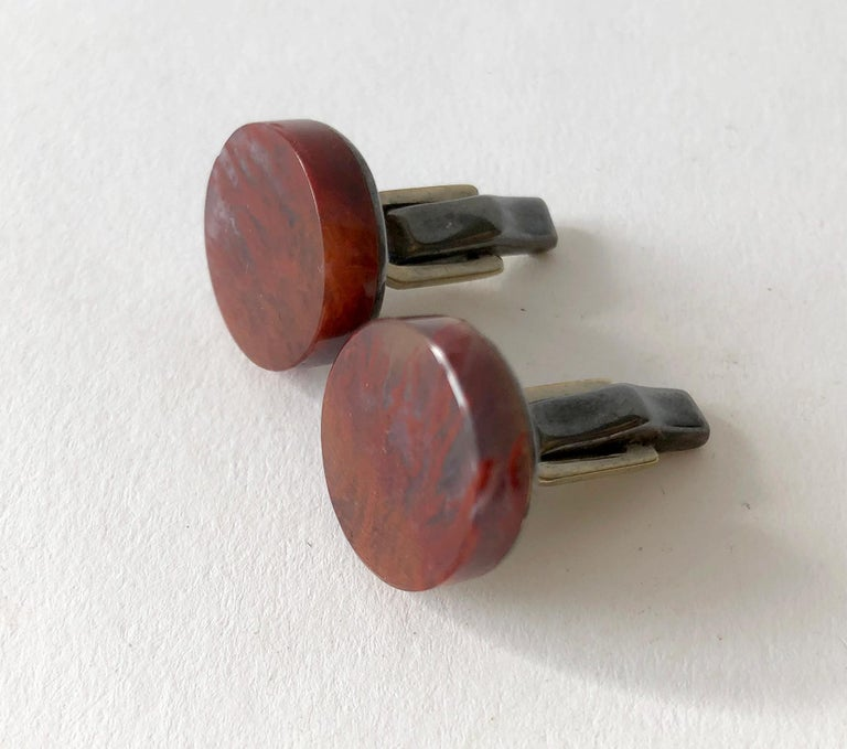 Sterling silver with jasper stone Mexican modern cufflinks by Enrique Ledesma.  Cufflinks measure 3/4