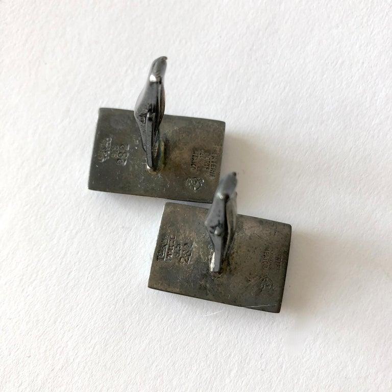Square Cut Enrique Ledesma Mexican Modernist Jade Sterling Silver Cufflinks For Sale