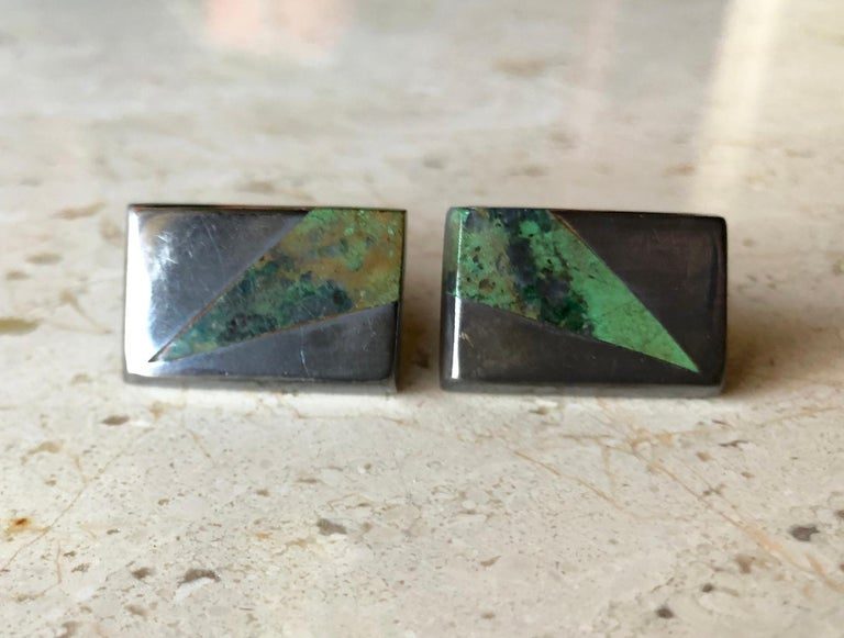 Enrique Ledesma Mexican Modernist Jade Sterling Silver Cufflinks In Good Condition For Sale In Los Angeles, CA
