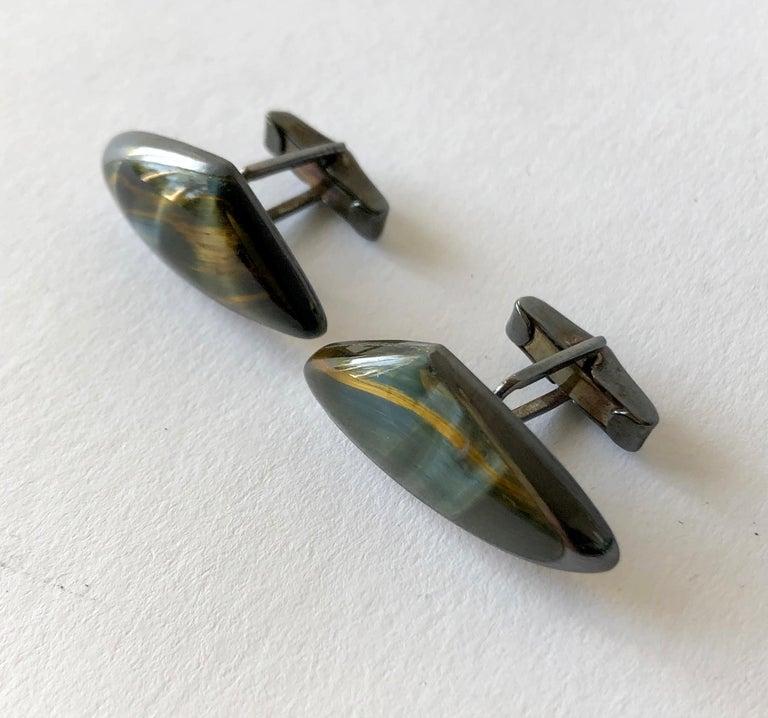 Tumbled Enrique LeDesma Mexican Modernist Sterling Silver Eagle Eye Cufflinks For Sale