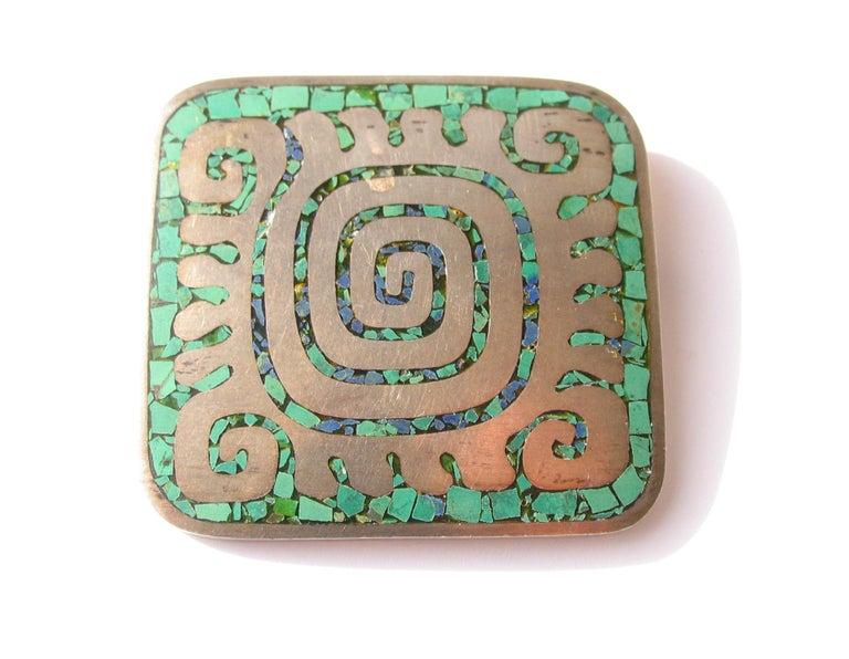 Artisan Enrique Ledesma Mexican Silver & Turquoise Aztec Labyrinth Pin  For Sale