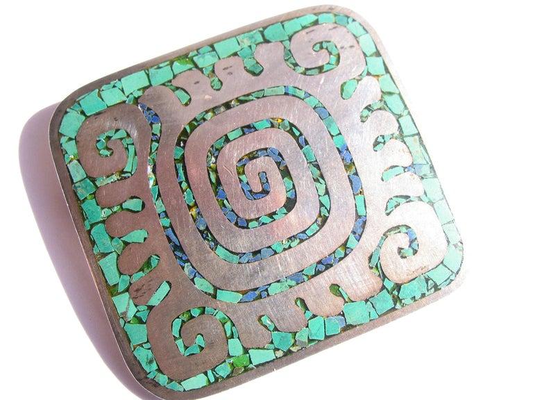 Uncut Enrique Ledesma Mexican Silver & Turquoise Aztec Labyrinth Pin  For Sale